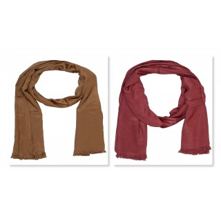 Combo Pack- 2 Premium Satin Plain Women's Stole